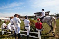 Конноспортивные всадники лошадей арены  Стоковые Изображения