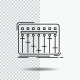 Консоль, dj, смеситель, музыка, линия значок студии на прозрачной предпосылке r иллюстрация вектора