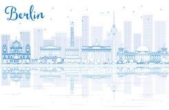 Конспектируйте горизонт Берлина с голубыми зданиями и отражениями иллюстрация штока