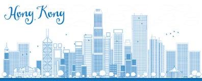 Конспектируйте горизонт Гонконга с голубыми небоскребами и такси Стоковая Фотография