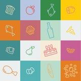 Конспектируйте еду и продукты значков в плоском стиле Стоковое Изображение RF
