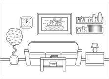 Конспектируйте интерьер живущей комнаты в дизайне искусства плоском Illustra вектора Стоковая Фотография RF