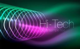 Конспектируйте шестиугольники, накаляя геометрические формы, цифровую предпосылку конспекта techno Стоковое Фото
