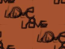 Конспект безшовный на бежевом коричневом цвете влюбленность слова Стоковые Изображения RF