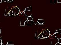 Конспект безшовный на бежевые коричневом и белый влюбленность слова Стоковые Фото