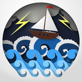 Конспект бумаги корабля против моря и thunderbolt в шторме, искусства концепции, иллюстрации вектора Стоковое Изображение RF