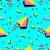 Конспект всеобщей картины Мемфиса 80-90 безшовной бесконечный текстурирует геометрическую иллюстрацию вектора предпосылки орнамен Стоковые Изображения RF