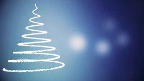 Конспект, дерево Christmass спирали с падать вверх снежинки и мигающие огни на темно-синей предпосылке, зимние отдыхи иллюстрация вектора