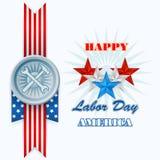 Конспект, компьютер, графический дизайн с звездами, молоток и ключ на американский День Трудаа Стоковая Фотография