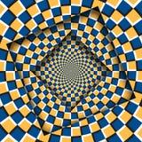 Конспект повернул рамки с вращая оранжевой голубой checkered картиной Предпосылка обмана зрения иллюстрация штока