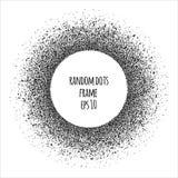 Конспект, полутоновое изображение, случайно разбрасывал рамку точек круглую с gra Стоковые Изображения