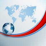 Конспект, предпосылка дизайна с картой мира и глобусом земли Стоковая Фотография