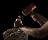 Конспект ручного молотка и тяжелого рока изолированных на черноте Стоковые Фотографии RF