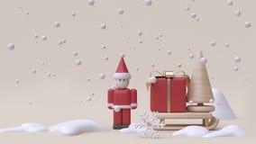конспект Санта Клаус и предпосылка 3d сливк деревянной игрушки стиля мультфильма концепции Нового Года снега зимы скелетона подар бесплатная иллюстрация