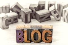 Конспект слова блога в деревянном типе Стоковое Изображение
