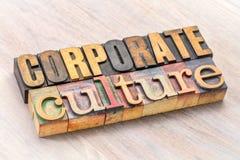 Конспект слова корпоративной культуры в деревянном типе Стоковое Изображение