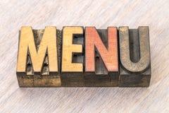 Конспект слова меню в деревянном типе Стоковые Фото