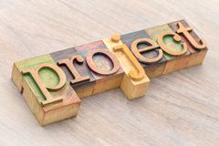 Конспект слова проекта в деревянном типе Стоковое Изображение