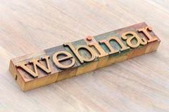 Конспект слова Webinar в деревянном типе стоковая фотография rf