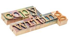 Конспект слова Copywriting в типе древесины letterpress Стоковые Фотографии RF
