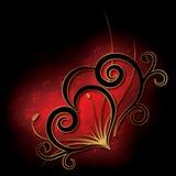 Конспект с сердцем на черной предпосылке Стоковая Фотография