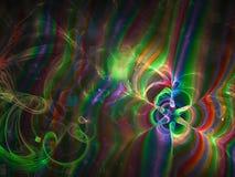 Конспект фрактали, диско блеска свирли стиля движения орнамента современное, текстурирует яркую фантазию волшебства дизайна карти иллюстрация вектора