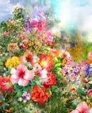 Конспект цветет картина акварели Стоковые Изображения RF