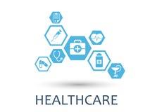 Конспект шестиугольника Предпосылка медицины с линиями, полигонами, и интегрирует плоские значки Концепция Infographic медицинска Стоковое Изображение RF