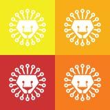Конспект льва головной изолированный на красочные предпосылки, вектор иллюстрация вектора