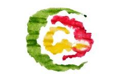 Конспект Ed зеленый и желтый акварели Стоковые Изображения