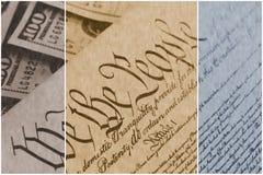 Конституция США при 100 долларовых банкнот сидя выше - концепция кризиса уровня задолженности Соединенных Штатов Стоковое Фото