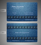 Конструированной сторона джинсовой тканью визитной карточки передняя и задняя Стоковое Изображение