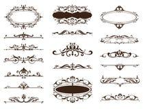 Конструируйте границы орнаментов года сбора винограда, рамки, углы Стоковое Изображение