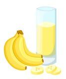 Конструируйте знамя шаблона, плакат, smoothies банана значков Иллюстрация сока банана выпивает меня Свеже сжиманное тропическое j бесплатная иллюстрация