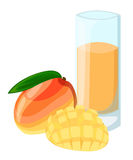 Конструируйте знамя шаблона, плакат, smoothies манго значков Иллюстрация сока манго выпивает меня Свеже сжиманный тропический сок бесплатная иллюстрация