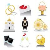 Конструируйте значки свадьбы для сети и чернь в винтажном векторе Стоковое Фото
