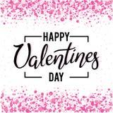 Конструируйте руку написанную помечающ буквами счастливый день ` s валентинки на белой предпосылке с confetti и sparkles Стоковая Фотография