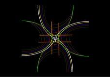 Конструируйте состав с покрашенные ходы на черной предпосылке Стоковое Фото