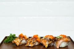 конструируйте суши ресторана меню элемента salmon полезные очень стоковое фото