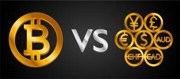 Конструируйте творческую концепцию Bitcoin Cryptocurrency ПРОТИВ знаков валют мира: значок доллара, монетка bitcoin, знак евро, s бесплатная иллюстрация