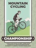 Конструируйте шаблон винтажного плаката для клуба велосипеда Стоковые Изображения RF