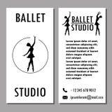 Конструируйте школу балета плаката, карточки или знамени, студию танца Стоковые Изображения