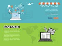 Конструируйте для вебсайта новостей, ходите по магазинам, сохраните онлайн Стоковые Фотографии RF