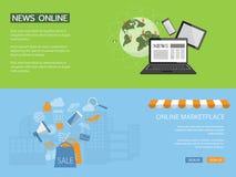 Конструируйте для вебсайта новостей, ходите по магазинам, сохраните онлайн Стоковое Изображение