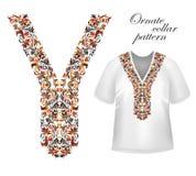 Конструируйте для рубашек воротника, рубашек, блузок, футболки Шея цветков черных и золотых цветов этническая Пейсли декоративное бесплатная иллюстрация