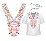 Конструируйте для рубашек воротника, рубашек, блузок, футболки Шея цветков черных и золотых цветов этническая Пейсли декоративное иллюстрация вектора