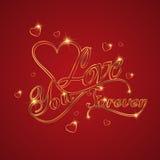 Конструируйте для счастливой поздравительной открытки влюбленности дня валентинки с золотом t Иллюстрация вектора