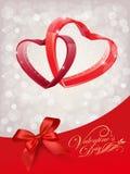 Конструируйте для счастливой поздравительной открытки дня валентинки с красным сердцем дальше Бесплатная Иллюстрация