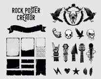 конструируйте grunge элементов Знак и рамка установленные для плакатов музыки иллюстрация вектора