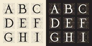 Конструирующ инициалы, винтажный стиль, письма a - I Иллюстрация штока